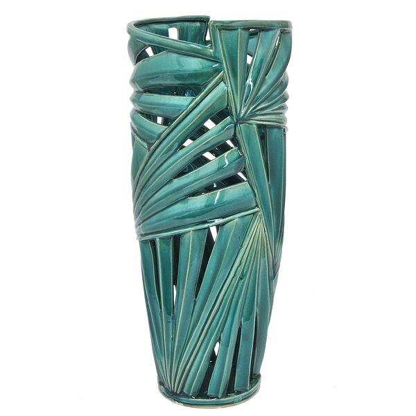 Leaf Ceramic Floor Vase by Bayou Breeze