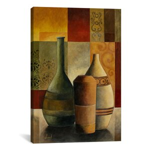 Decorative Three Vases by Pablo Esteban Painting Print on Canvas by iCanvas