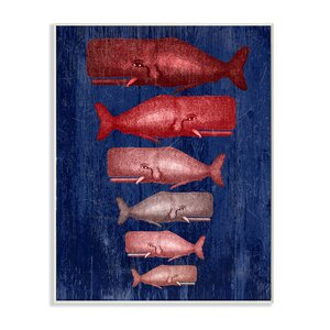 Whale Family Red' Graphic Art print by Stupell Industries