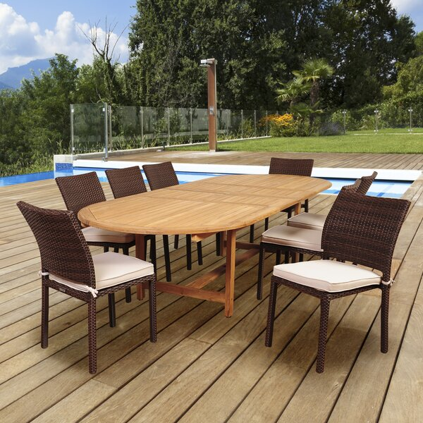 Tribeca International Home Outdoor 9 Piece Teak Dining Set with Cushions by Highland Dunes