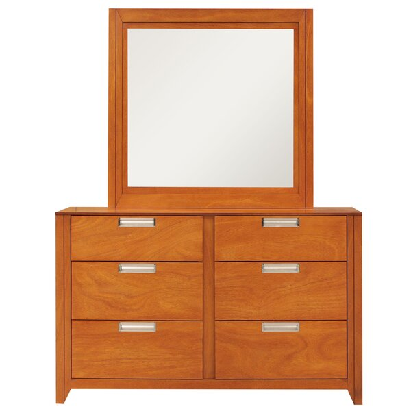 Solar 6 Drawer Double Dresser With Mirror By REZ Furniture by REZ Furniture Cheap