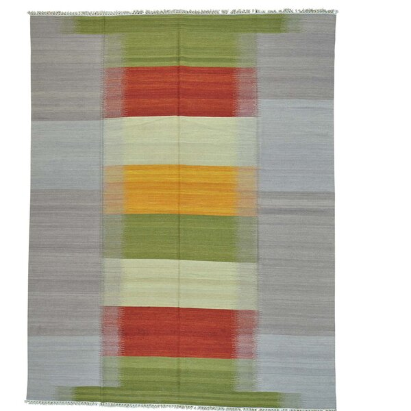 Durie Kilim Reversible Hand-Knotted Silver/Green Area Rug by Bloomsbury Market