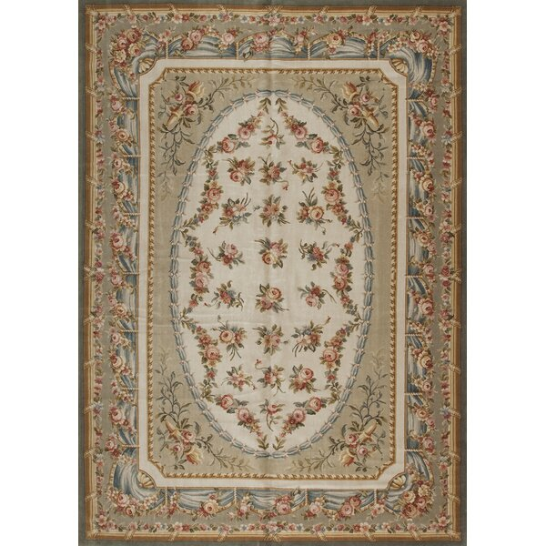 One-of-a-Kind Savonnerie Hand-Knotted Ivory 10' x 14' Wool Area Rug
