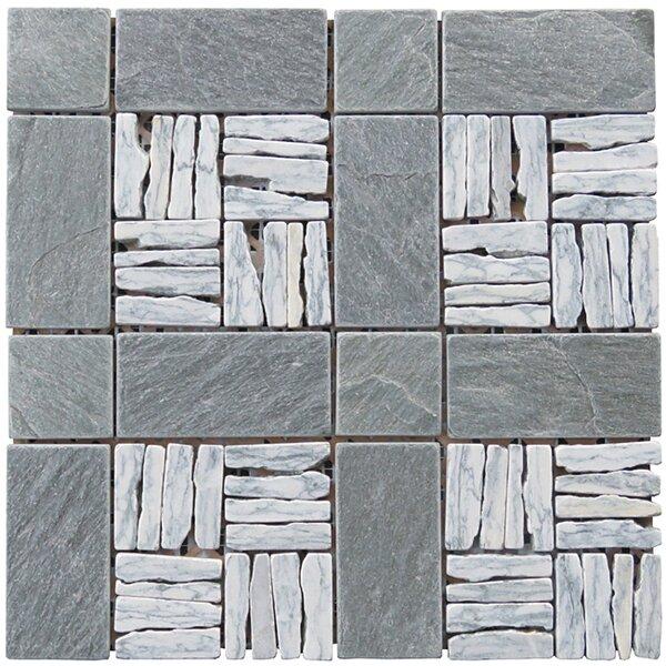Landscape Wonder 12 x 12 Alternate Granite Blend Mosaic Tile in Gray and Black by Intrend Tile