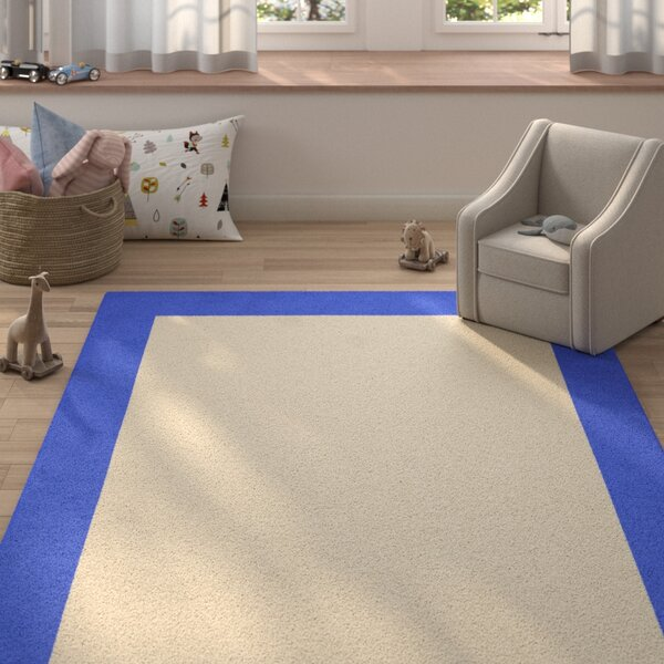 Degen Hand Tufted Persian Blue/Beige Area Rug by Zoomie Kids