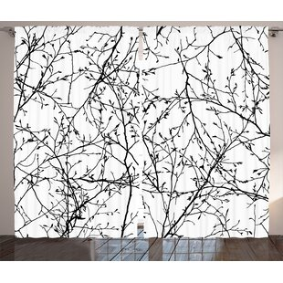 Toshia Tree Branches Graphic Print Text Semi Sheer Rod Pocket Curtain Panels Set Of 2