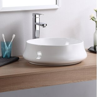 Best Reviews Vitreous China Circular Vessel Bathroom Sink By Fine Fixtures