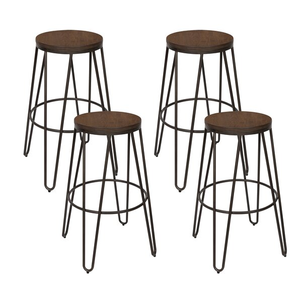 Scuderi Backless Modern Wood and Metal 30 Bar Stool (Set of 4) by Brayden Studio