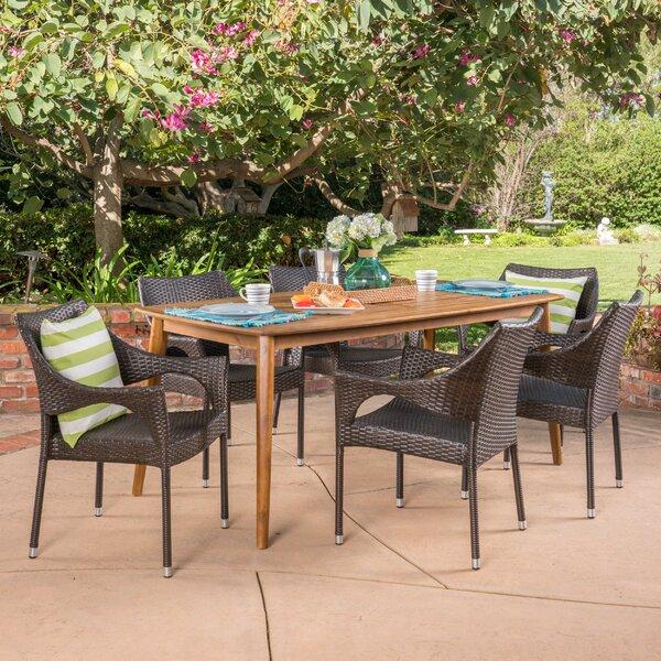 Stennett Outdoor 7 Piece Wicker Dining Set by Wrought Studio