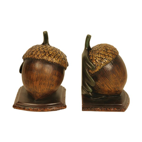 Wood Acorn Bookends (Set of 2) by Loon Peak