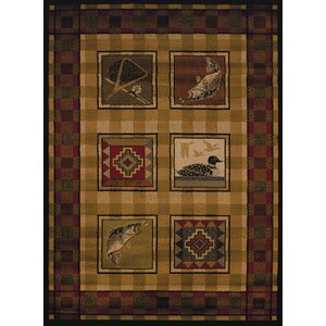 Sayre Lodge Stamp Ivory Area Rug