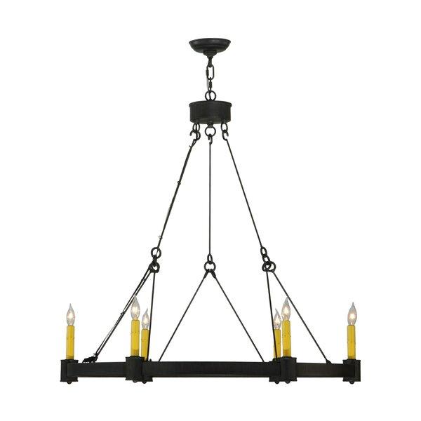6 - Light Candle Style Wagon Wheel Chandelier By Meyda Tiffany