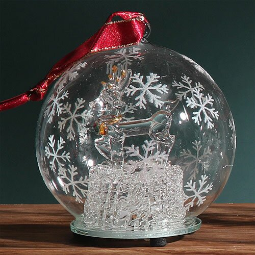 Light Up Glass Reindeer Ornament by Unison Gifts