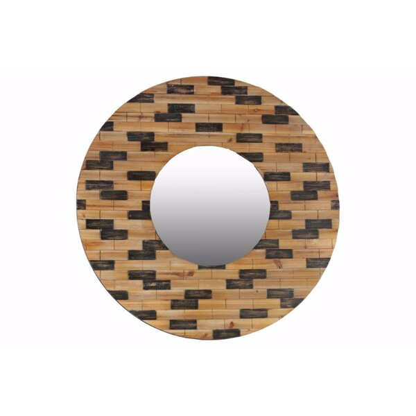 Luellen Round Wood Wall Mirror with Brick Design Frame by Wrought Studio