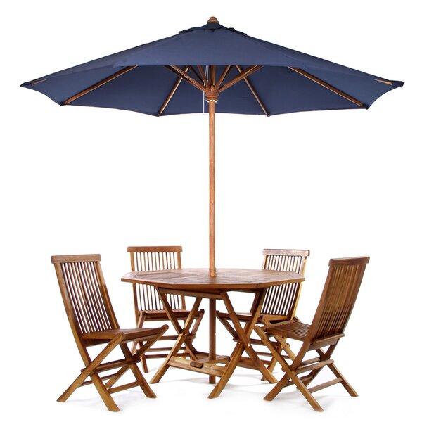 Humphrey 6 Piece Teak Dining Set With Umbrella by Longshore Tides