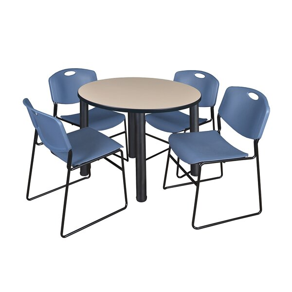 Leiser Round Table with 4 Zeng Chairs by Symple Stuff