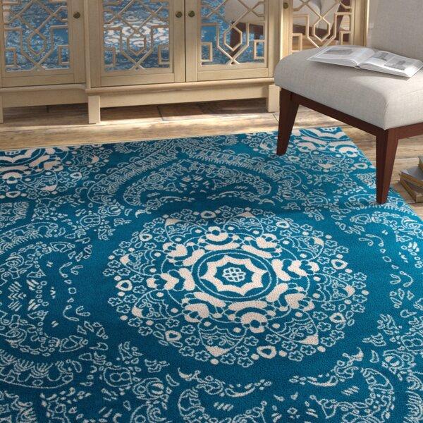 Eason Transitional Medallion Design Floral Blue Area Rug by Bungalow Rose