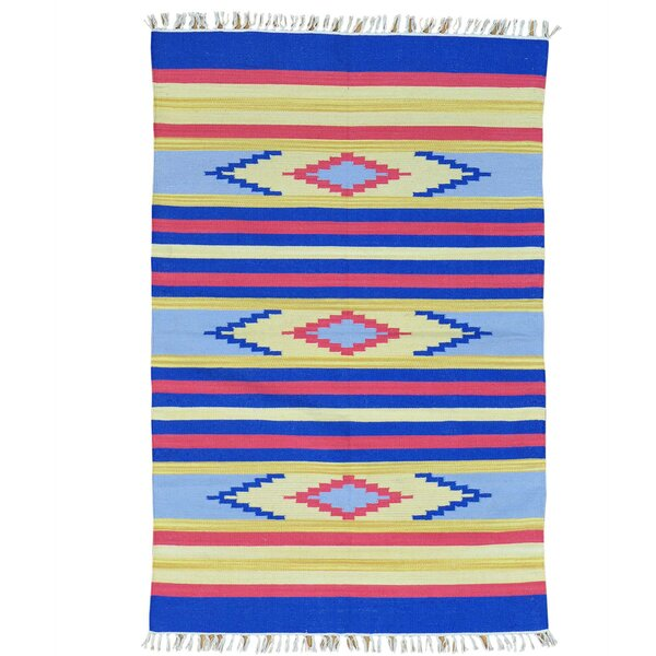 One-of-a-Kind Tollett Flat Weave Southwestern Killim Hand-Knotted Cotton Blue/Yellow Area Rug by Millwood Pines