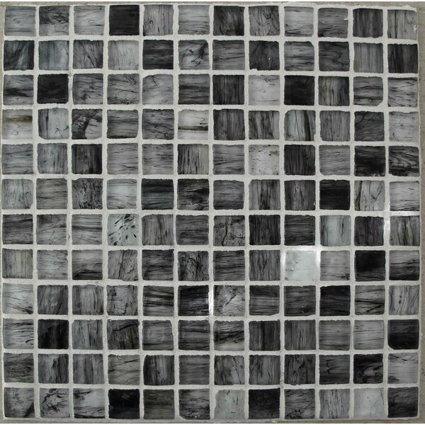Onyx 1 x 1 Glass Mosaic Tile in Black/Gray by Tile Focus
