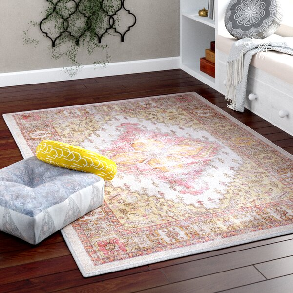 Fields Coral/Beige Area Rug by Mistana