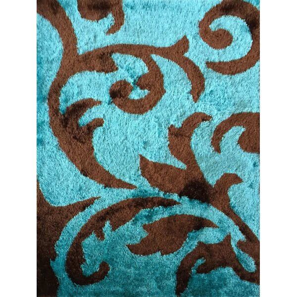 Mthimunye Hand-Tufted Brown/Turquoise Area Rug by Red Barrel Studio