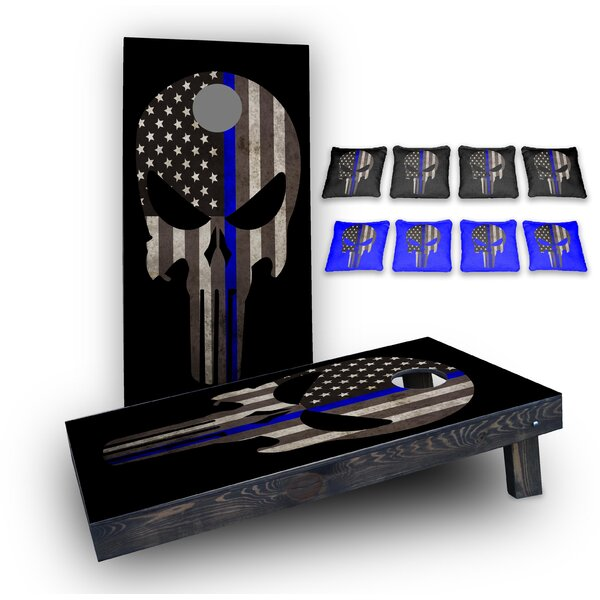 Original Punisher Thin Blue Line Custom 10 Piece Cornhole Board Set by Custom Cornhole Boards