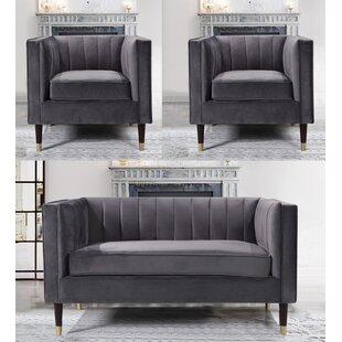 Louis Valvet 3 Piece Standard Living Room Set by Everly Quinn