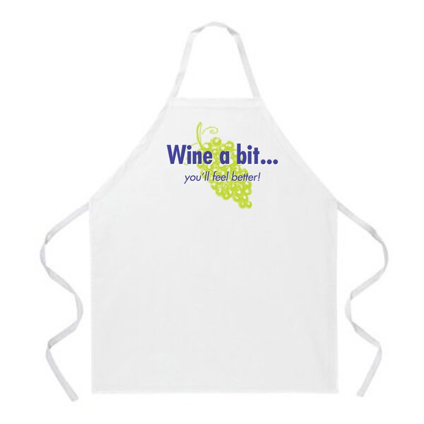 Wine a Bit Apron in Natural by Attitude Aprons by L.A. Imprints