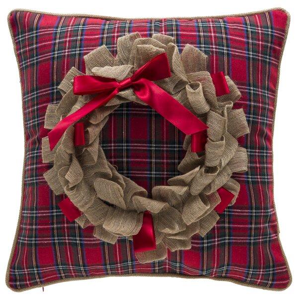 Plaid Wreath Throw Pillow by 14 Karat Home Inc.