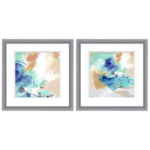 Abstract Swirl 2 Piece Framed Graphic Art Set by Mercury Row