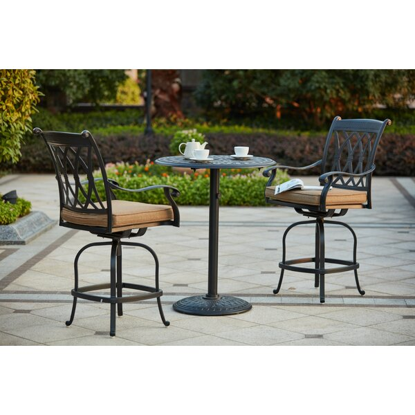 Melchior 3 Piece Counter Height Bar Dining Set with Cushions by Astoria Grand