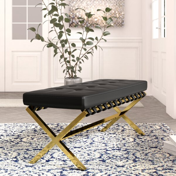 Jolie PU leather Tufted Bench by Everly Quinn Everly Quinn