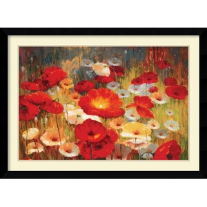 'Meadow Poppies I' by Lucas Santini Framed Painting Print by Amanti Art