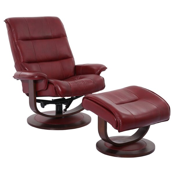 Check Price Griff Leather Manual Swivel Recliner With Ottoman