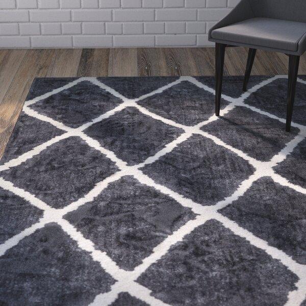 Patterson Modern Moroccan Trellis Dark Gray/White Area Rug by Wrought Studio