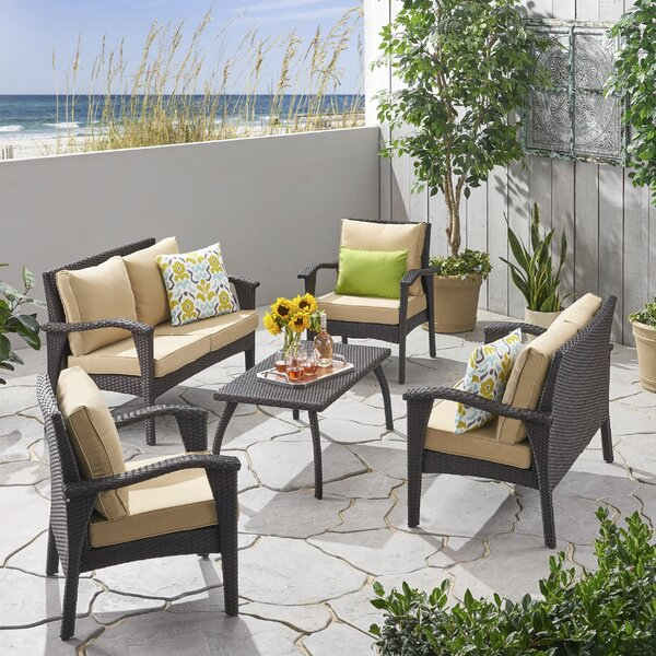 Trevino Outdoor 5 Piece Rattan Sofa Seating Group with Cushions by Bayou Breeze