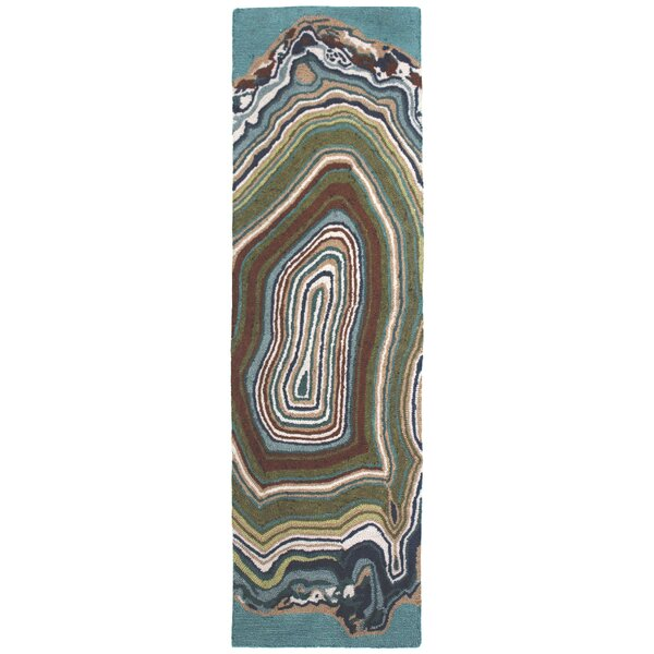 Genest Agate Hand-Tufted Teal/Beige Area Rug by Ebern Designs
