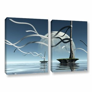 Ribbons by Cynthia Decker 2 Piece Graphic Art on Wrapped Canvas Set by ArtWall