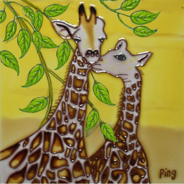 2 Giraffes Tile Wall Decor by Continental Art Center