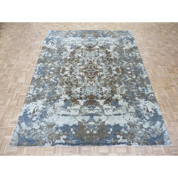 One-of-a-Kind Pellegrino Modern Abstract Hand-Knotted White/Blue Area Rug by Bloomsbury Market