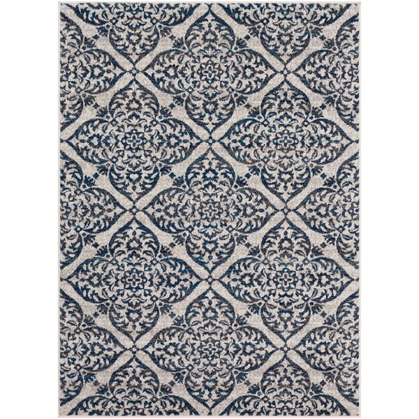 Kent Modern Medallion Gray/Navy Area Rug by Charlton Home