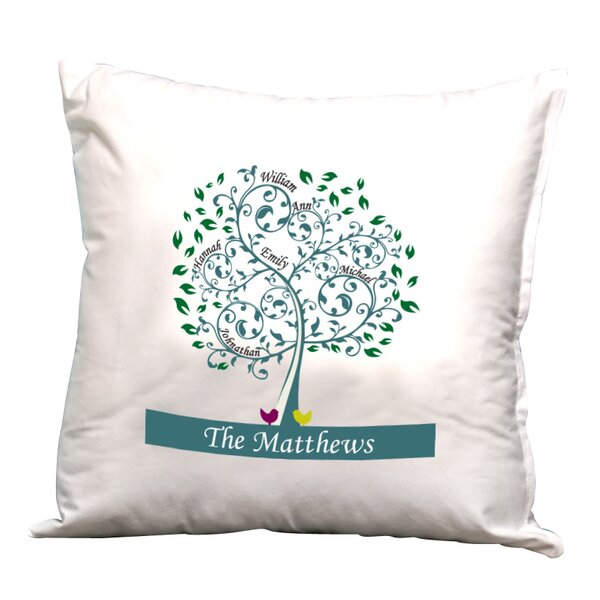 Personalized Family Tree Decorative Pillow Cushion Cover by Monogramonline Inc.