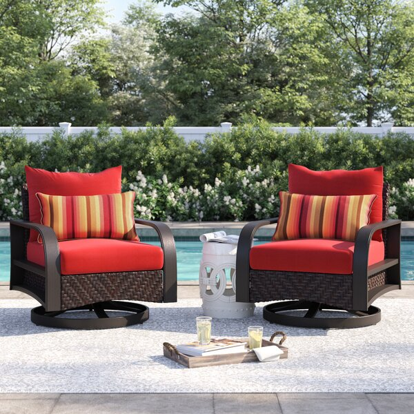Cerralvo Swivel Patio Chair with Sunbrella Cushions (Set of 2) by Sol 72 Outdoor