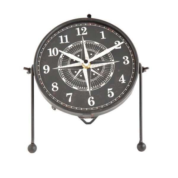 Metal and MDF Convex Tabletop Clock by Breakwater Bay