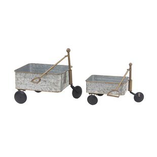 Contemporary Garden Pull 2 Piece Wheelbarrow Planter Set