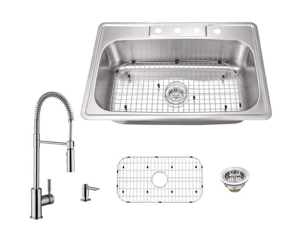 20 gauge stainless steel 33   x 22   drop in kitchen sink with faucet soleil 20 gauge stainless steel 33   x 22   drop in kitchen sink      rh   wayfair com