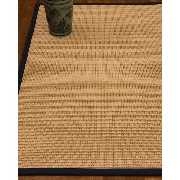 Chaves Border Hand-Woven Wool Beige/Midnight Blue Area Rug by Rosecliff Heights