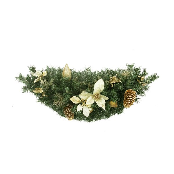 Pre-Decorated Gold Poinsettia, Pine Cone and Pear Artificial Christmas Swag by Northlight Seasonal