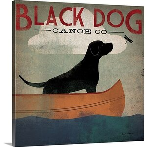 'Black Dog Canoe' Gallery Graphic Art on Wrapped Canvas by Red Barrel Studio