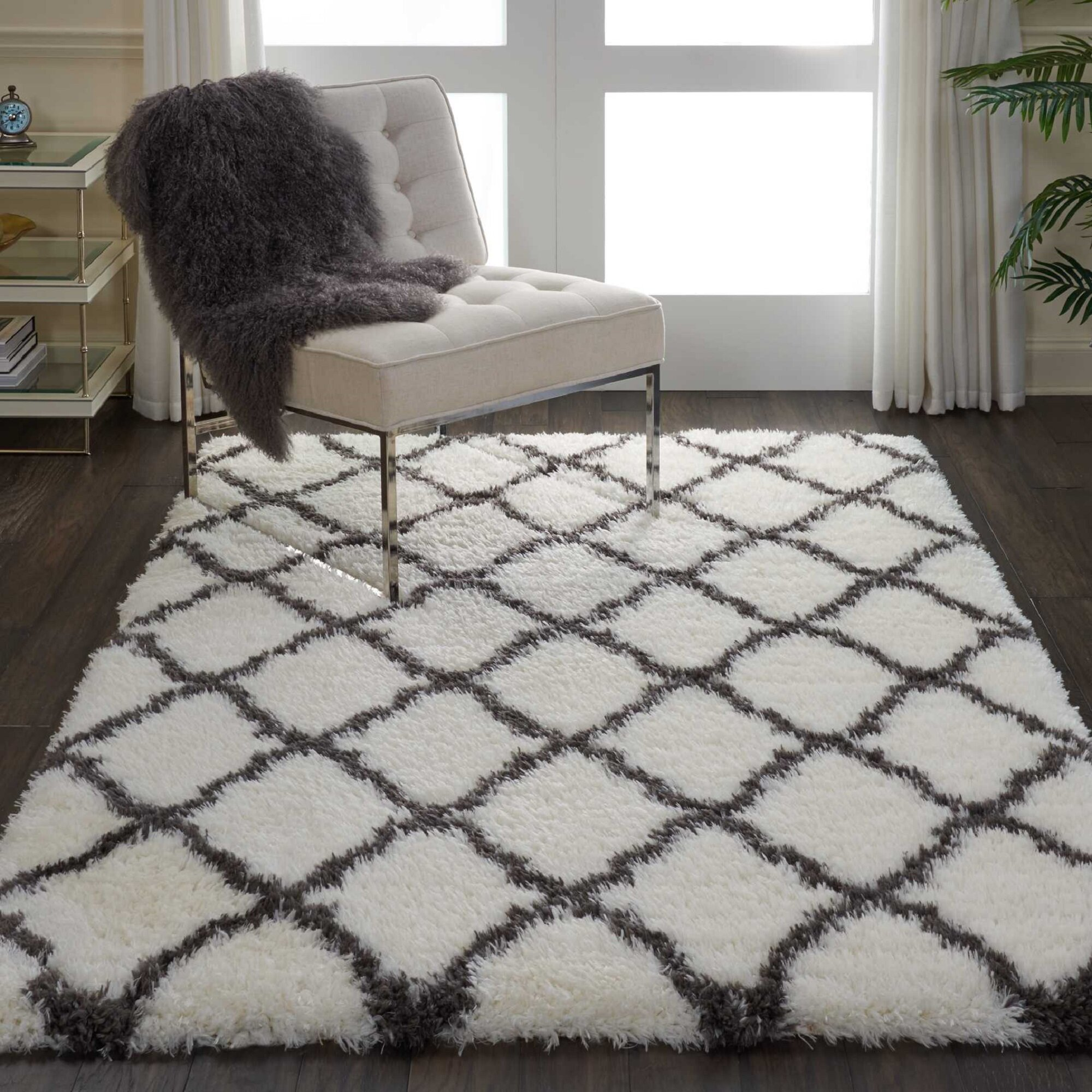 Soft /& Fluffy Ivory Cream Moroccan Shaggy Trellis Rug Thick 5cm High Pile Carpet